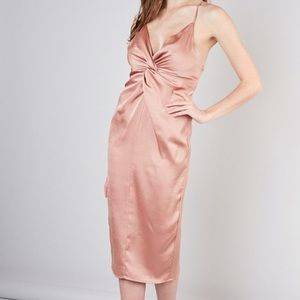 Pink Silky Twist Dress